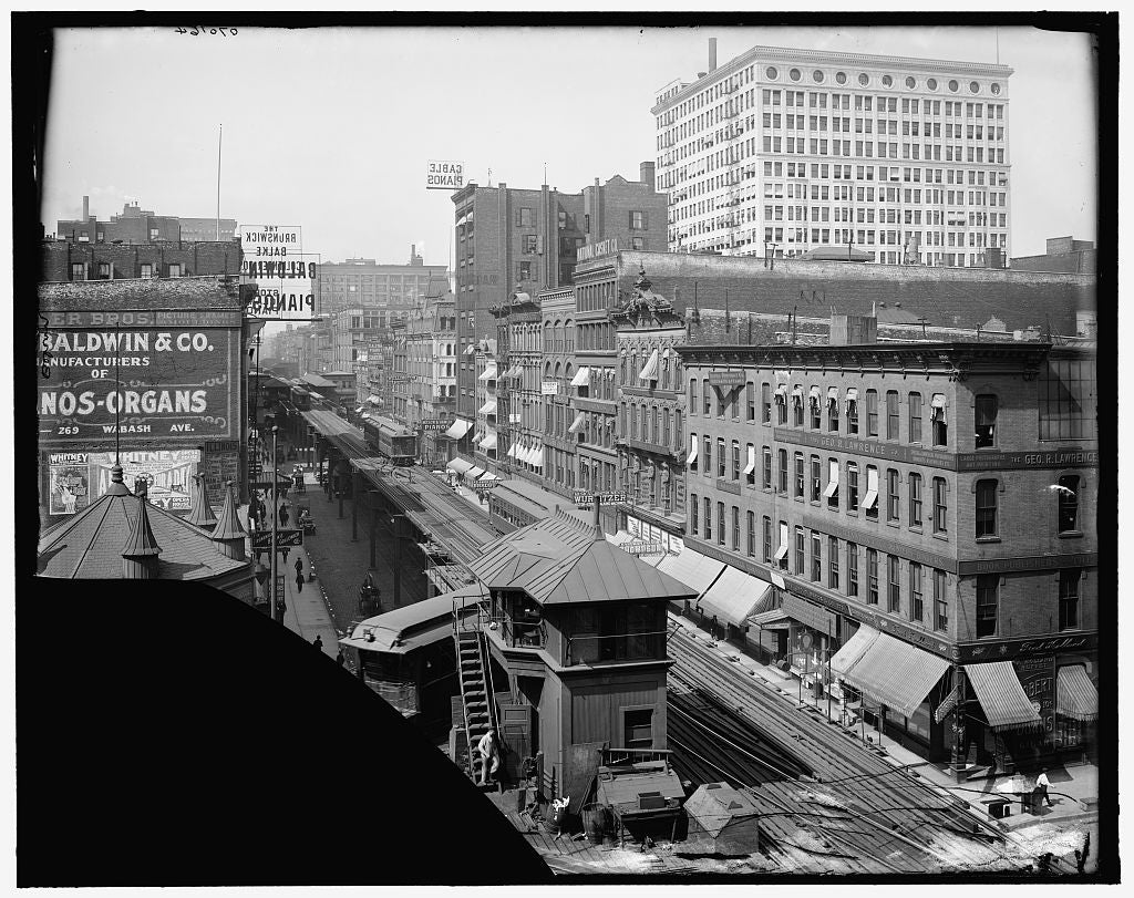 16 x 20 Gallery Wrapped Frame Art Canvas Print of Elevated railroad Wabash Avenue Chicago Ill  1905 Detriot Publishing co.  97a