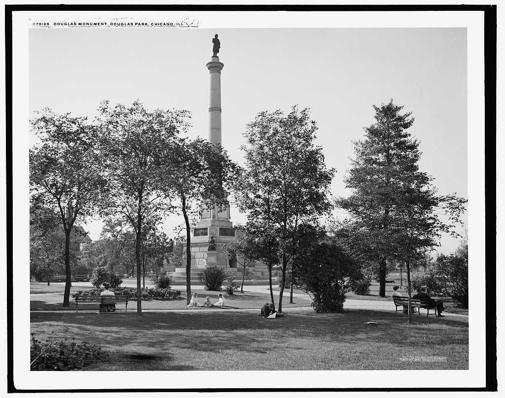16 x 20 Gallery Wrapped Frame Art Canvas Print of Douglas Monument Douglas Park Chicago Ill  1907 Detriot Publishing co.  76a
