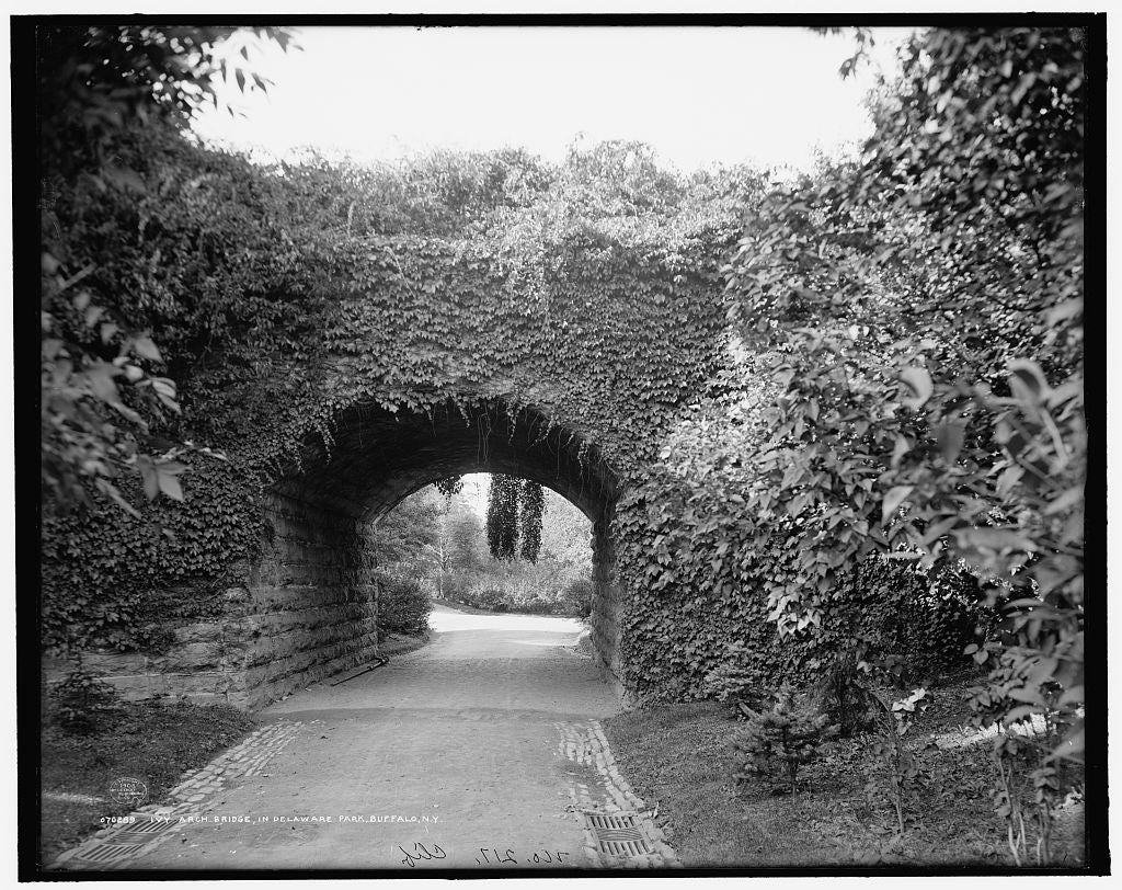 16 x 20 Gallery Wrapped Frame Art Canvas Print of Ivy arch bridge in Delaware Park Buffalo N Y  1908 Detriot Publishing co.  65a