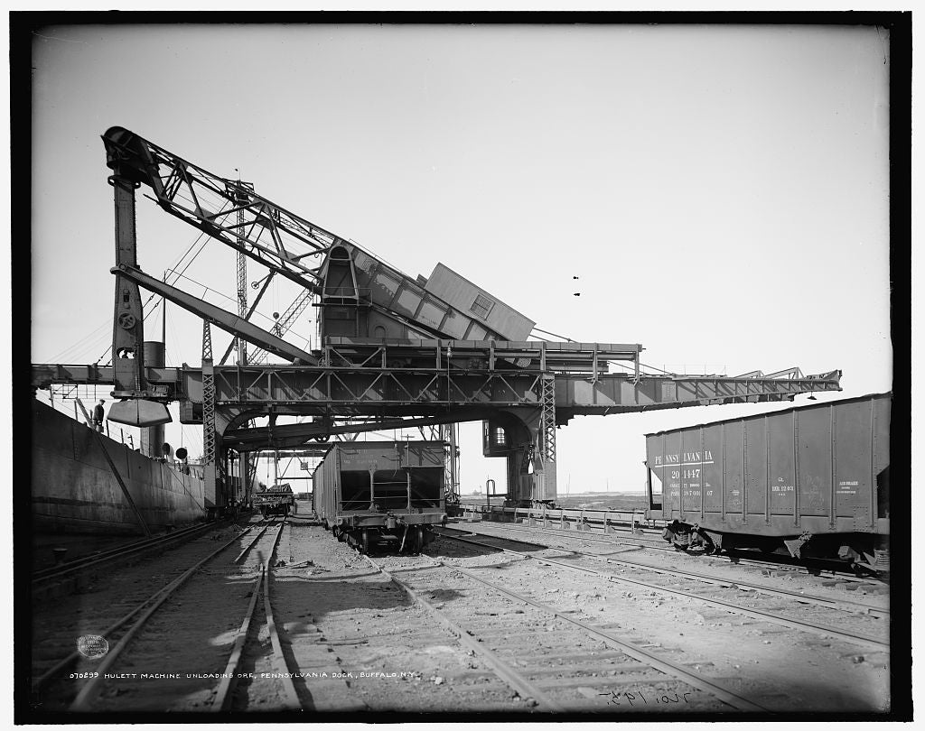 16 x 20 Gallery Wrapped Frame Art Canvas Print of Hulett machine unloading ore Pennsylvania Railroad dock Buffalo N Y  1908 Detriot Publishing co.  66a