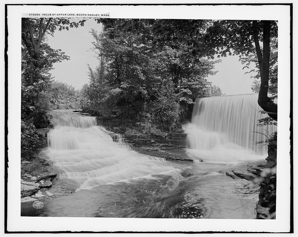 16 x 20 Gallery Wrapped Frame Art Canvas Print of Falls at upper lake South Hadley Mass  1908 Detriot Publishing co.  12a