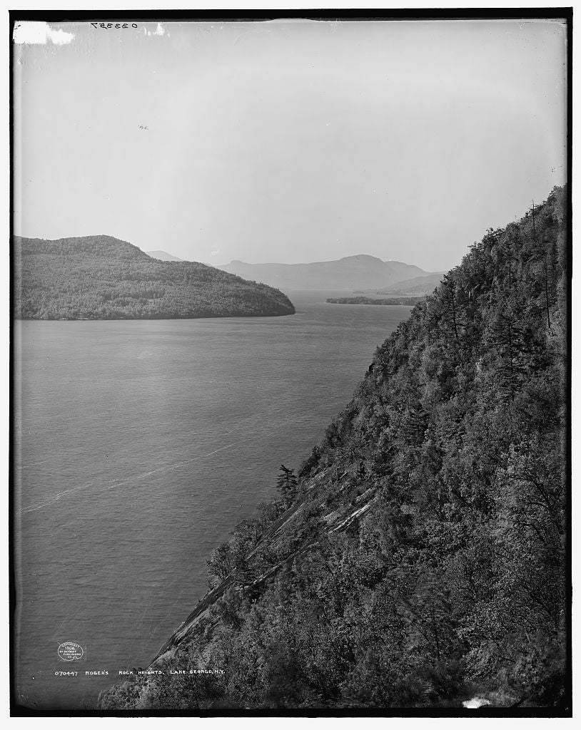 16 x 20 Gallery Wrapped Frame Art Canvas Print of Rogers' Rock Heights Lake George N Y  1908 Detriot Publishing co.  96a