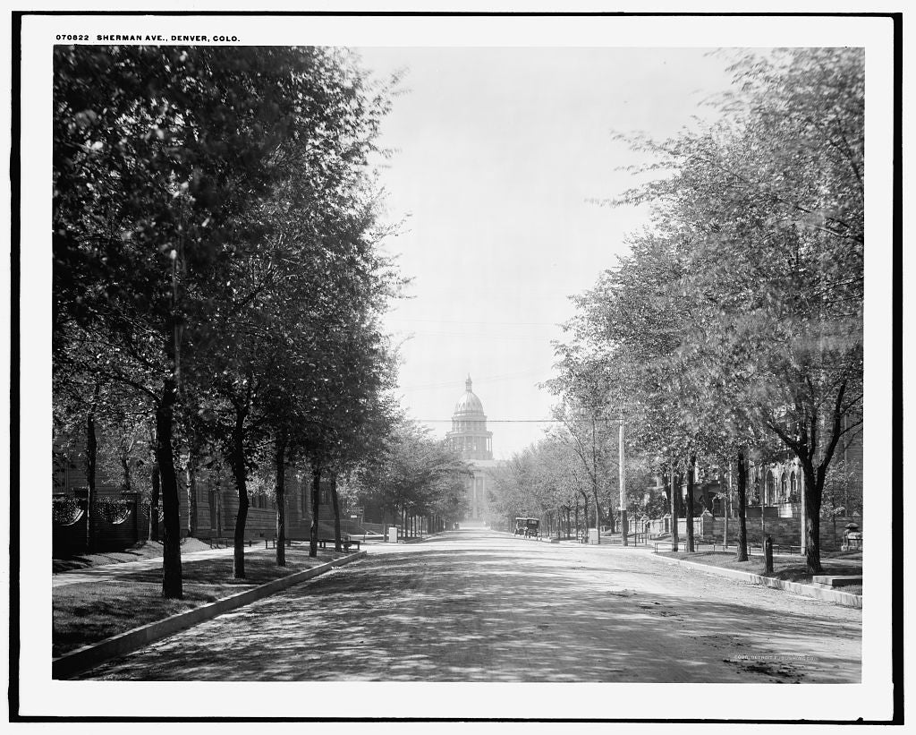 16 x 20 Gallery Wrapped Frame Art Canvas Print of Sherman Ave Denver Colo  1910 Detriot Publishing co.  81a