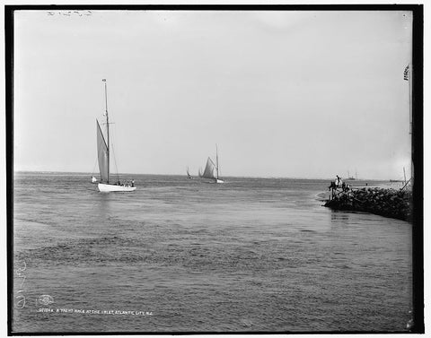 16 x 20 Gallery Wrapped Frame Art Canvas Print of  A Yacht race at the inlet Atlantic City N J  1908 Detriot Publishing co.  26a