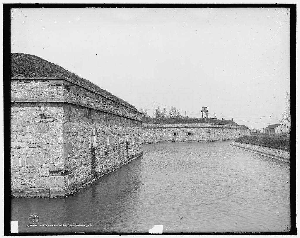 16 x 20 Gallery Wrapped Frame Art Canvas Print of Moat and ramparts Fort Monroe Va  1908 Detriot Publishing co.  10a