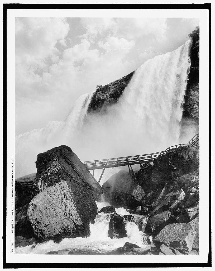 16 x 20 Gallery Wrapped Frame Art Canvas Print of Rock of Ages and Cave of the Winds Niagara Falls N Y  1908 Detriot Publishing co.  00a