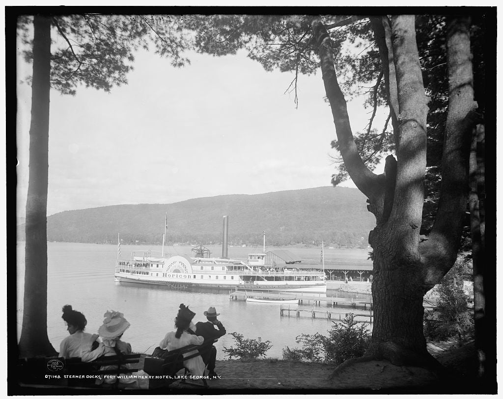 16 x 20 Gallery Wrapped Frame Art Canvas Print of Steamer docks Fort William Henry Hotel Lake George N Y  1908 Detriot Publishing co.  12a