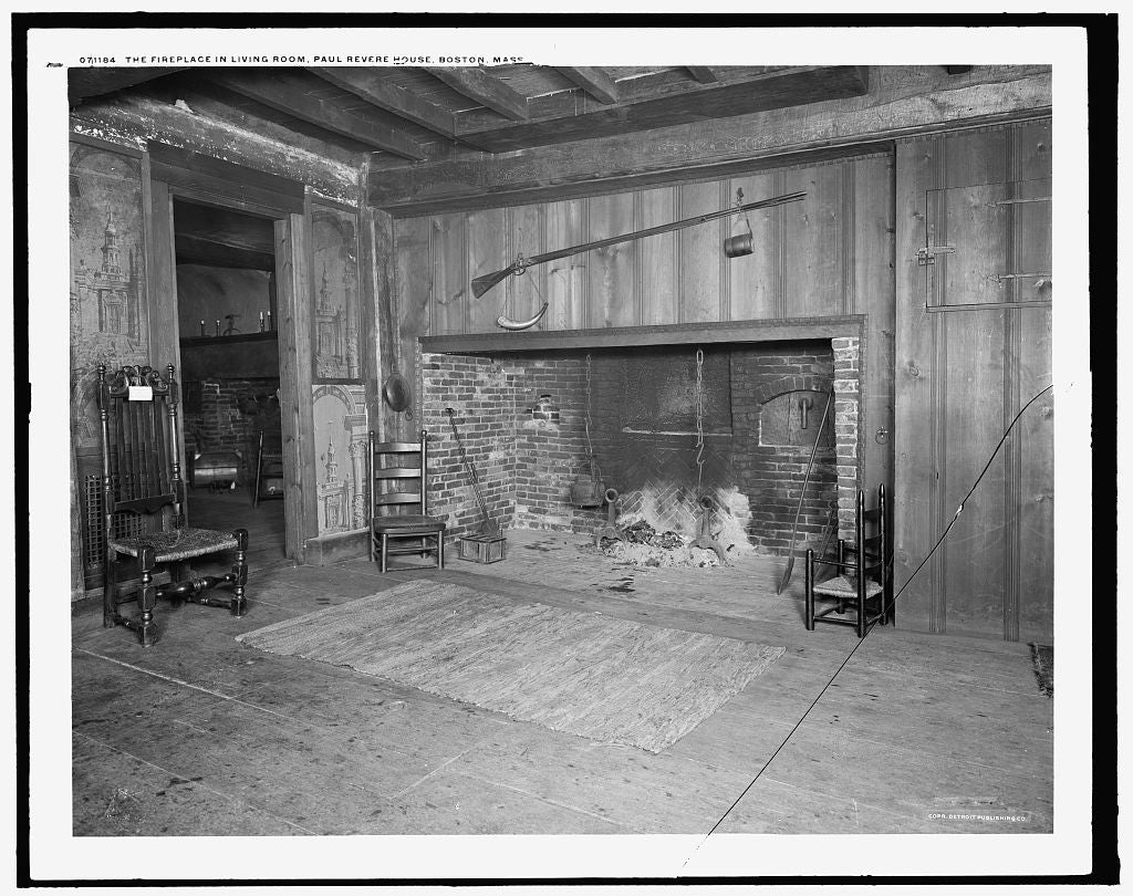 16 x 20 Gallery Wrapped Frame Art Canvas Print of  The Fireplace in living room Paul Revere House Boston Mass  1909 Detriot Publishing co.  97a