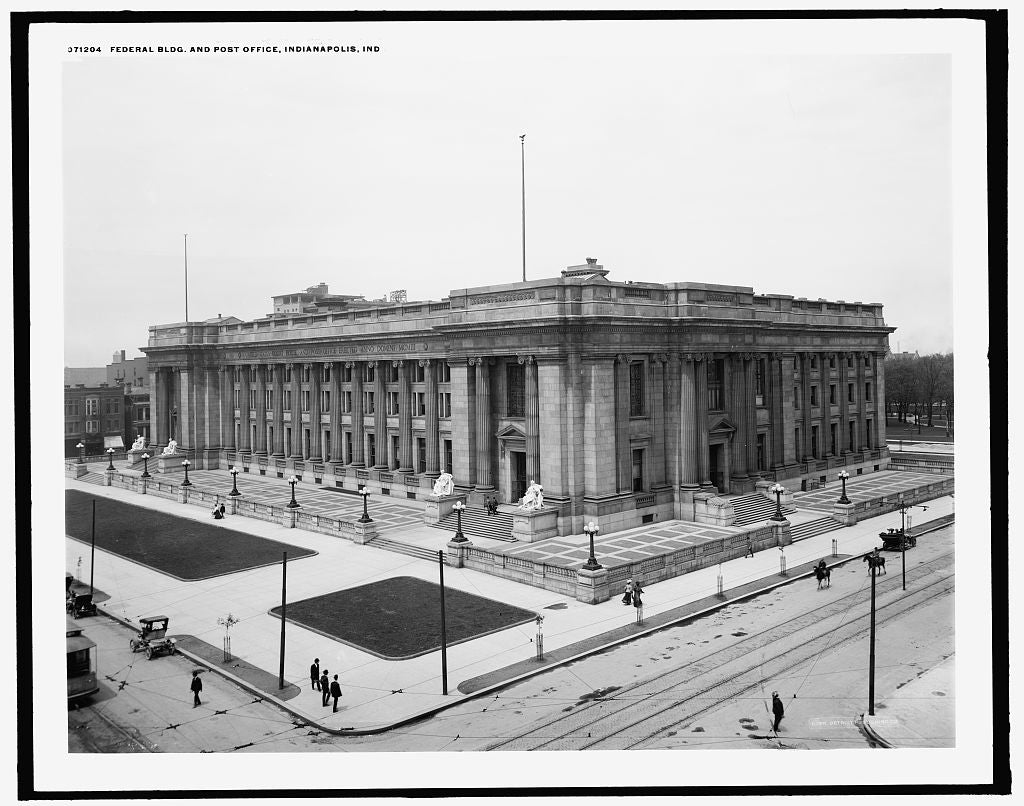 16 x 20 Gallery Wrapped Frame Art Canvas Print of Federal Bldg and post office Indianapolis Ind  1905 Detriot Publishing co.  53a