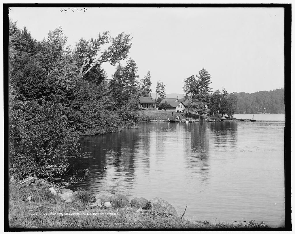 16 x 20 Gallery Wrapped Frame Art Canvas Print of Hunter's Rest Camp Raquette Lake Adirondack Mts N Y  1909 Detriot Publishing co.  70a