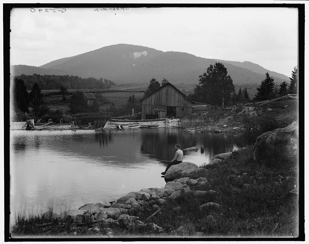 16 x 20 Gallery Wrapped Frame Art Canvas Print of Saranac Lake Scar Face i e Scarface Mountain from Ames Mills Adirondack Mts N Y  1905 Detriot Publishing co.  33a