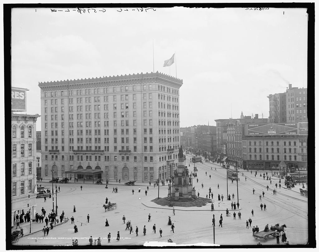 16 x 20 Gallery Wrapped Frame Art Canvas Print of Campus Martius from Detroit Opera House Detroit Mich  1909 Detriot Publishing co.  22a