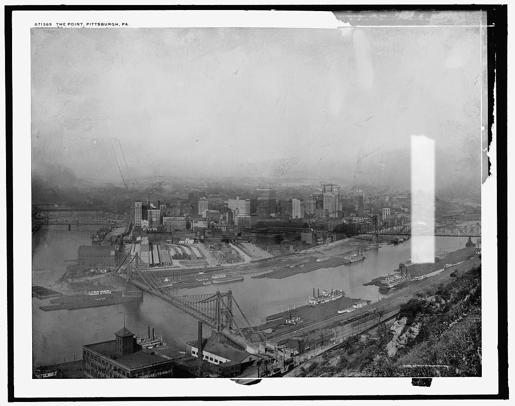 16 x 20 Gallery Wrapped Frame Art Canvas Print of The Point Pittsburgh Pa  1905 Detriot Publishing co.  48a