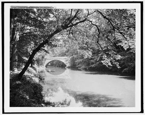 16 x 20 Gallery Wrapped Frame Art Canvas Print of  A View on the Wissahickon Philadelphia Pa  1900 Detriot Publishing co.  68a