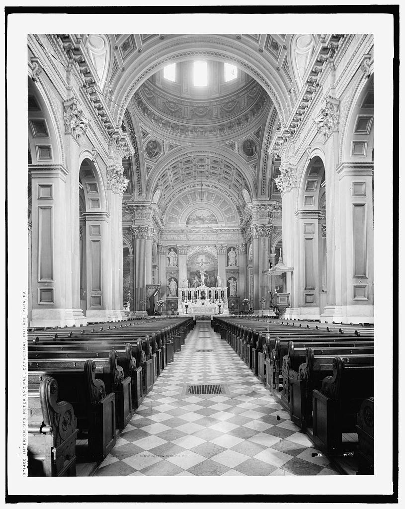 16 x 20 Gallery Wrapped Frame Art Canvas Print of Interior Sts Peter & Paul Cathedral Philadelphia Pa  1902 Detriot Publishing co.  13a