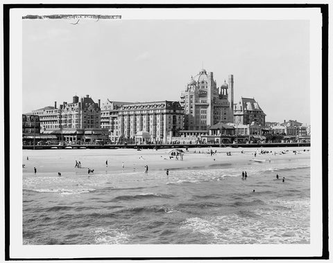 16 x 20 Gallery Wrapped Frame Art Canvas Print of  A Group of big hotels Atlantic City N J  1900 Detriot Publishing co.  64a