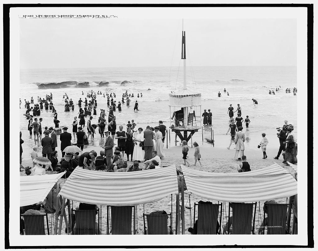 16 x 20 Gallery Wrapped Frame Art Canvas Print of Life-saving lookout Atlantic City N J  1910 Detriot Publishing co.  87a