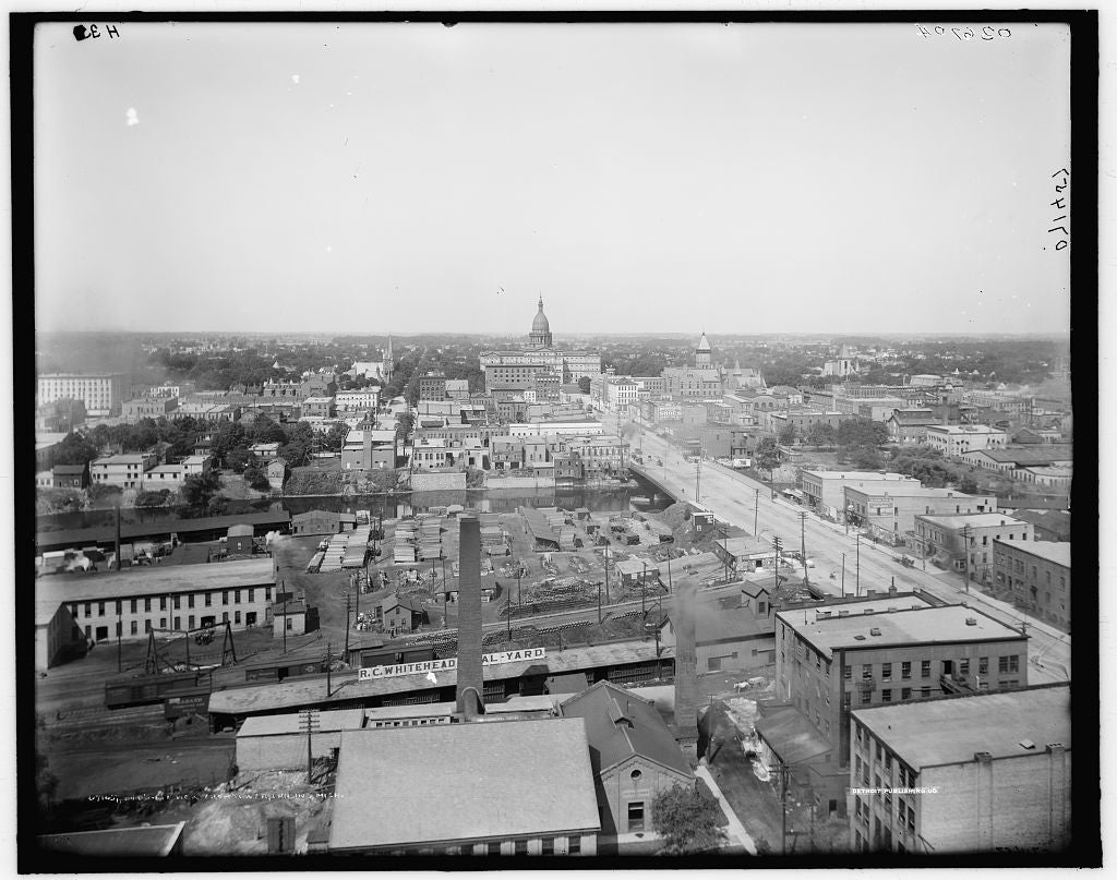 16 x 20 Gallery Wrapped Frame Art Canvas Print of Bird's-eye view from tower Lansing Mich  1910 Detriot Publishing co.  16a