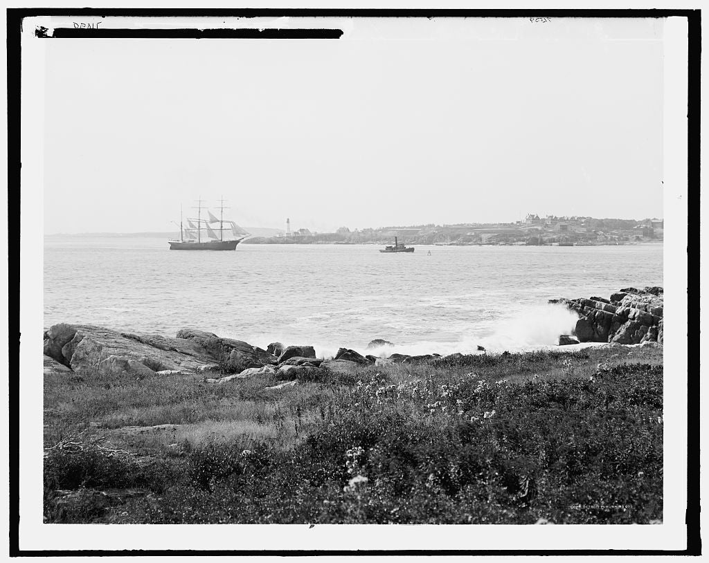16 x 20 Gallery Wrapped Frame Art Canvas Print of  Looking toward Portland head light from Cushing Island Portland harbor Maine  1900 Detriot Publishing co.  21a