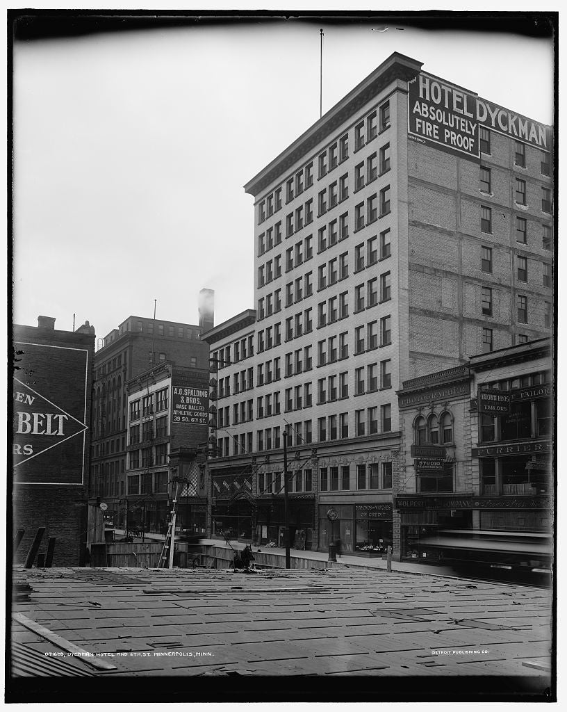 16 x 20 Gallery Wrapped Frame Art Canvas Print of Dyckman Hotel and 6th St Minneapolis Minn  1905 Detriot Publishing co.  72a