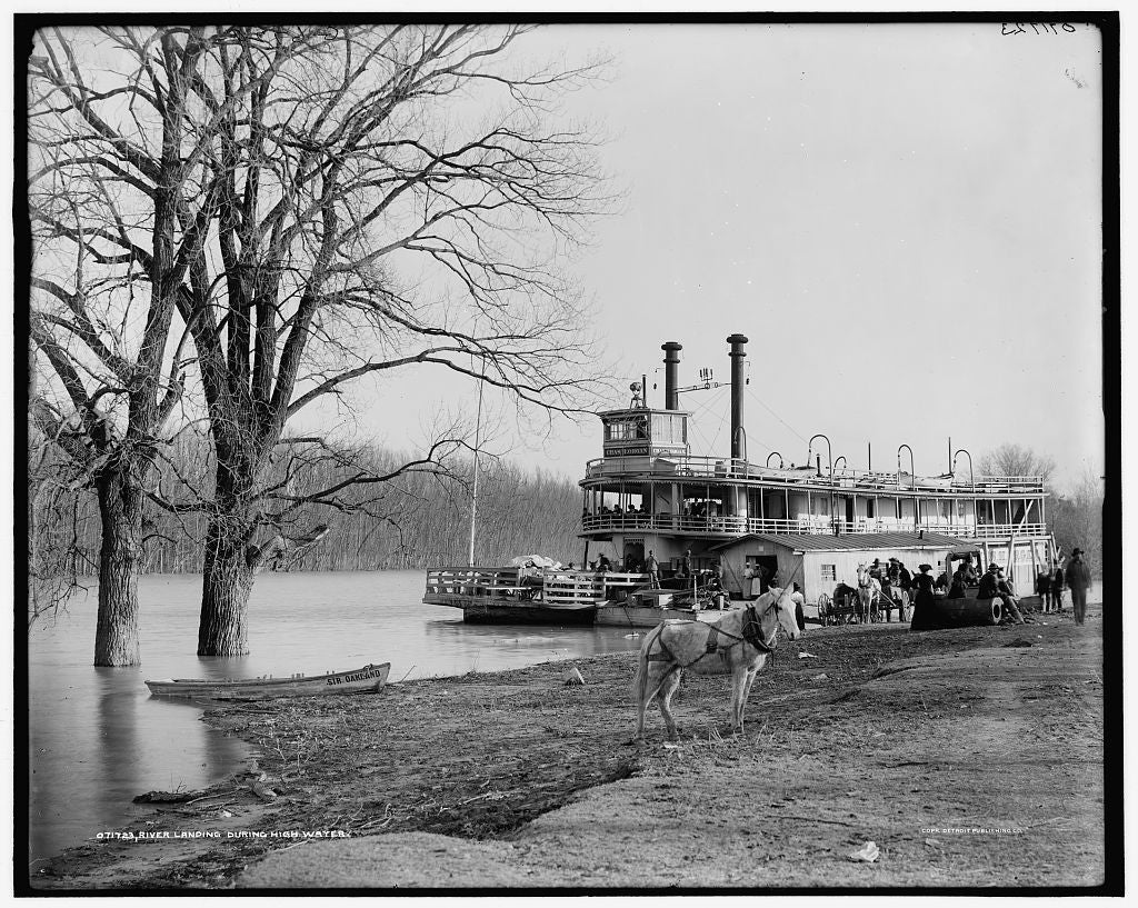 16 x 20 Gallery Wrapped Frame Art Canvas Print of River landing during high water Memphis Tenn  1905 Detriot Publishing co.  50a