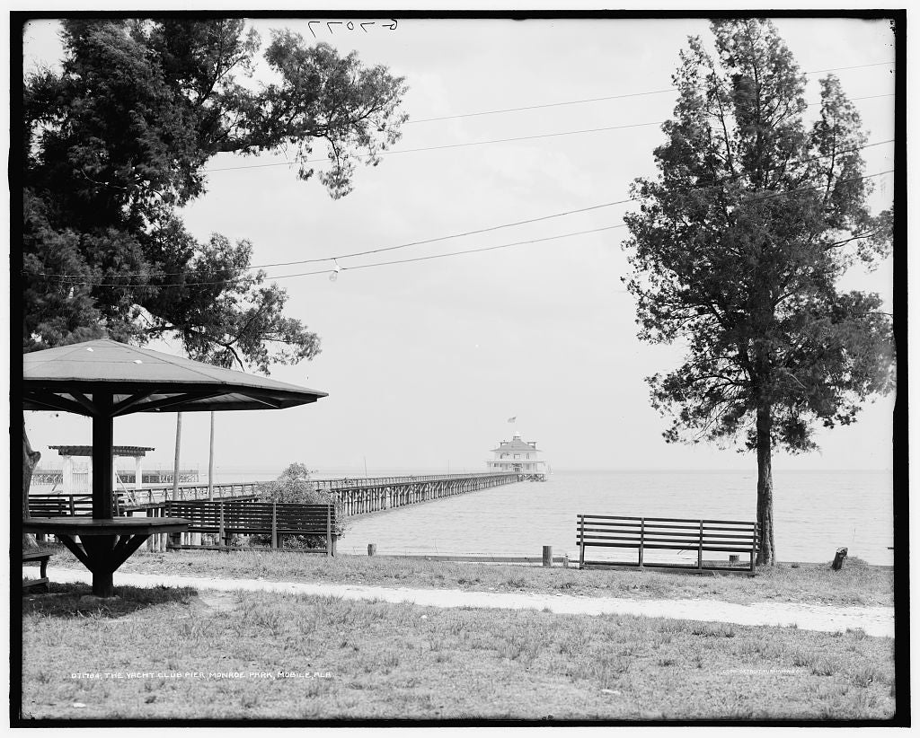 16 x 20 Gallery Wrapped Frame Art Canvas Print of The Yacht club pier Monroe Park Mobile Ala  1910 Detriot Publishing co.  97a
