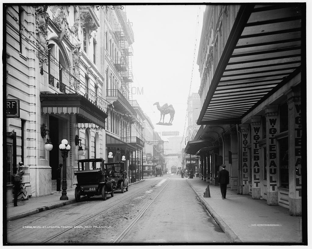 16 x 20 Gallery Wrapped Frame Art Canvas Print of Royal St looking toward Canal Street New Orleans La  1910 Detriot Publishing co.  43a