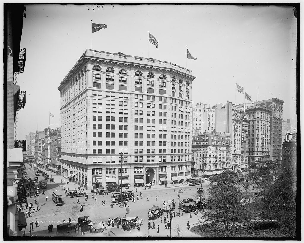 16 x 20 Gallery Wrapped Frame Art Canvas Print of Fifth Ave building New York N Y  1902 Detriot Publishing co.  51a