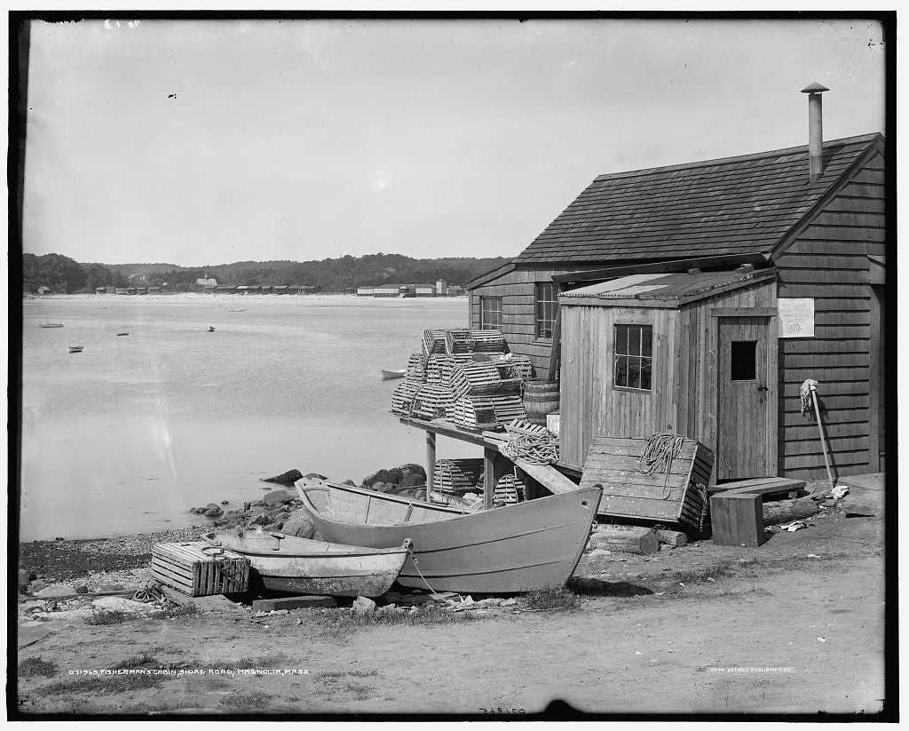 16 x 20 Gallery Wrapped Frame Art Canvas Print of Fisherman's cabin Shore Road Magnolia Mass  1910 Detriot Publishing co.  11a