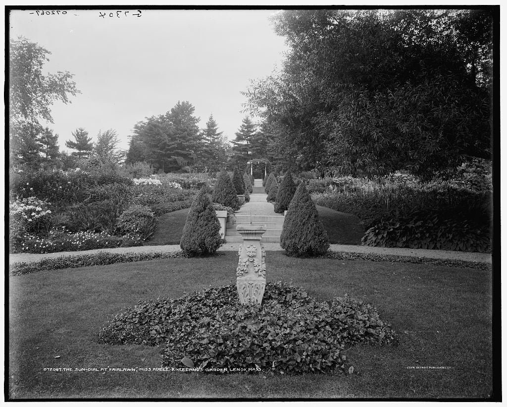 16 x 20 Gallery Wrapped Frame Art Canvas Print of The Sun-dial at Fairlawn Miss Adele Kneeland's garden Lenox Mass  1910 Detriot Publishing co.  80a