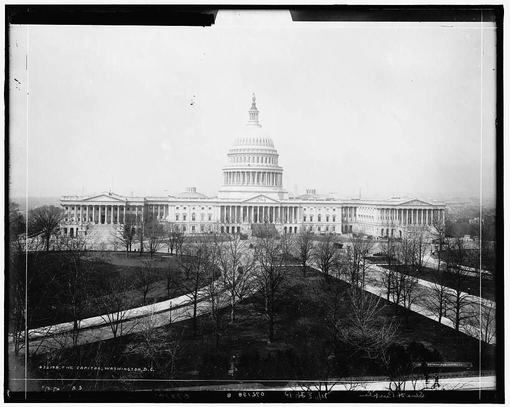 16 x 20 Gallery Wrapped Frame Art Canvas Print of The United States Capitol Washington D C  1915 Detriot Publishing co.  57a