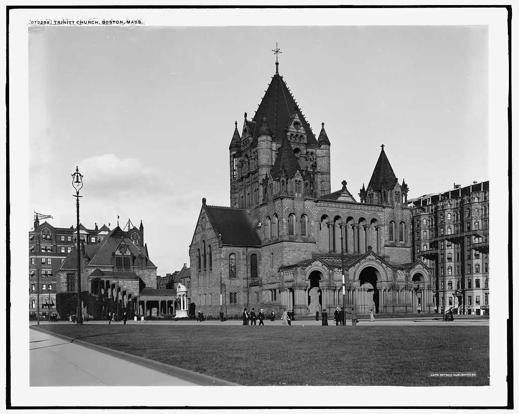 16 x 20 Gallery Wrapped Frame Art Canvas Print of Trinity Church Boston Mass  1915 Detriot Publishing co.  45a