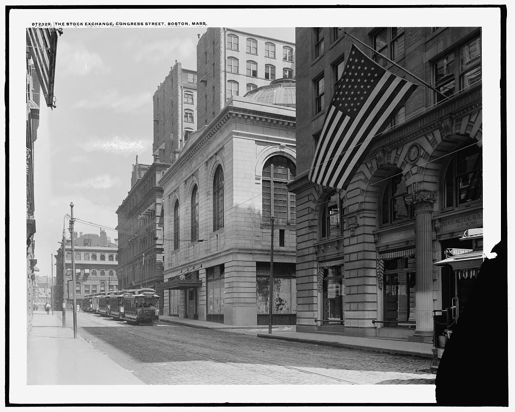 16 x 20 Gallery Wrapped Frame Art Canvas Print of The Stock exchange Congress Street Boston Mass  1915 Detriot Publishing co.  92a