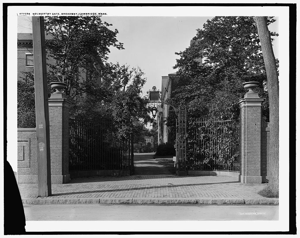 16 x 20 Gallery Wrapped Frame Art Canvas Print of Holworthy Gate Harvard University Broadway Cambridge Mass  1915 Detriot Publishing co.  03a