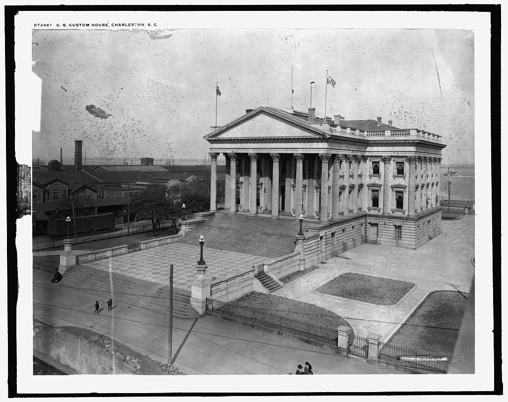 16 x 20 Gallery Wrapped Frame Art Canvas Print of U S Custom House Charleston S C  1910 Detriot Publishing co.  50a
