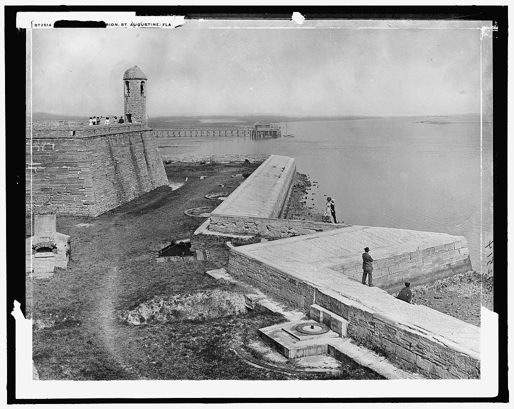 16 x 20 Gallery Wrapped Frame Art Canvas Print of Sea wall Fort Marion St Augustine Fla  1915 Detriot Publishing co.  89a