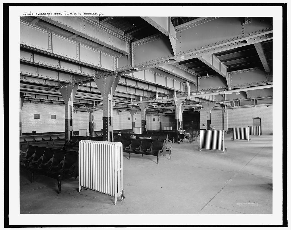 16 x 20 Gallery Wrapped Frame Art Canvas Print of Emigrants' room C & N W Ry Chicago and North Western Railway station Chicago Ill  1915 Detriot Publishing co.  59a
