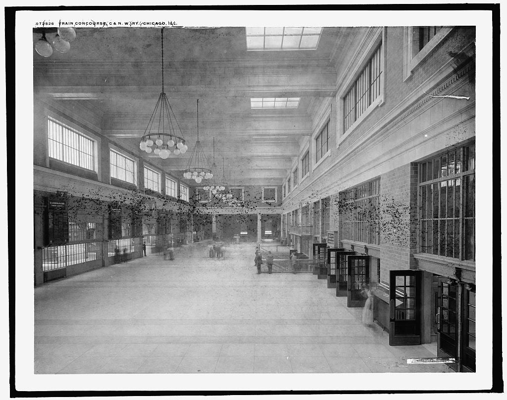 16 x 20 Gallery Wrapped Frame Art Canvas Print of Train concourse C & NW Ry Chicago and North WesternRailway Chicago Ill  1910 Detriot Publishing co.  31a