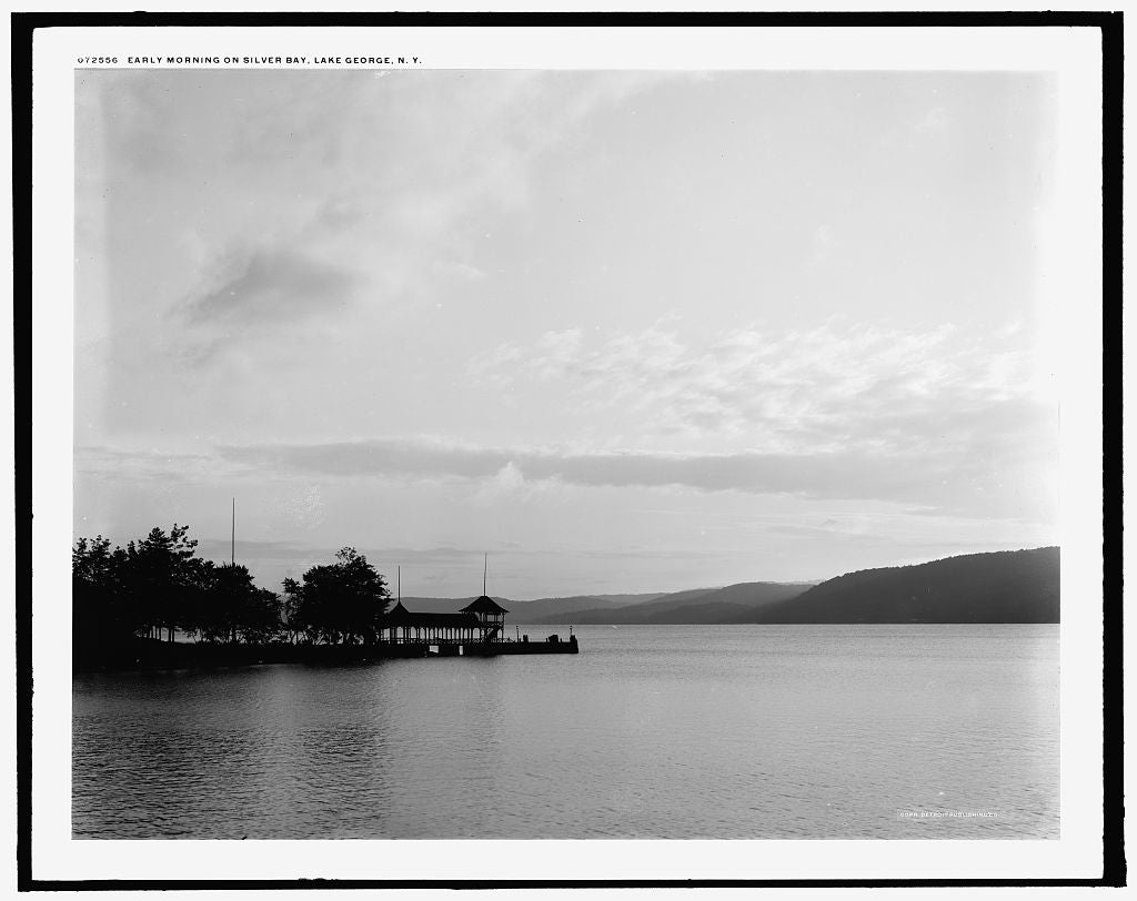 16 x 20 Gallery Wrapped Frame Art Canvas Print of Early morning on Silver Bay Lake George N Y  1915 Detriot Publishing co.  00a