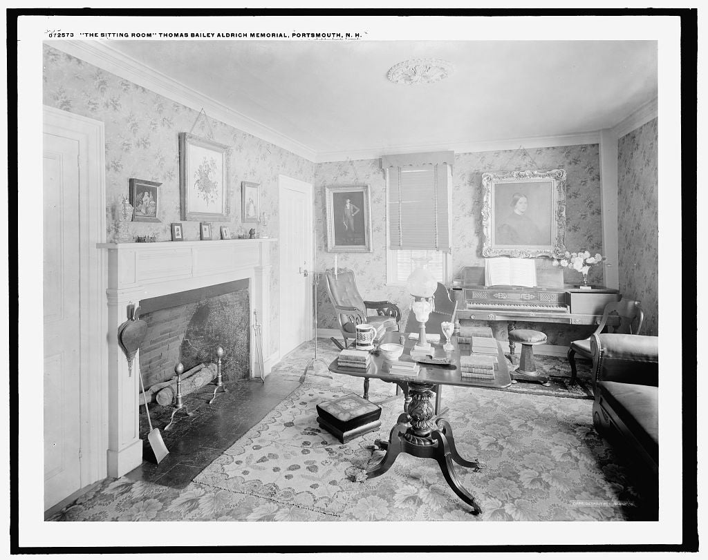 16 x 20 Gallery Wrapped Frame Art Canvas Print of The Sitting room Thomas Bailey Aldrich Memorial Portsmouth N H  1915 Detriot Publishing co.  78a