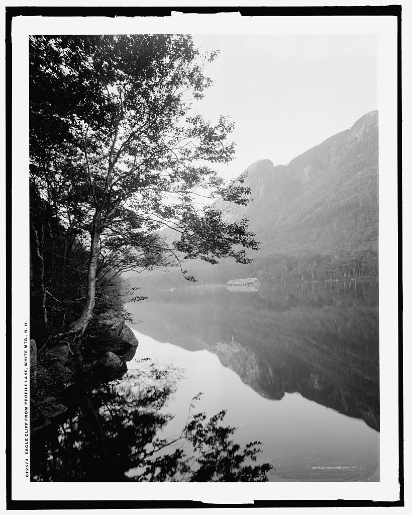 16 x 20 Gallery Wrapped Frame Art Canvas Print of Eagle Cliff from Profile Lake White Mts N H  1915 Detriot Publishing co.  32a