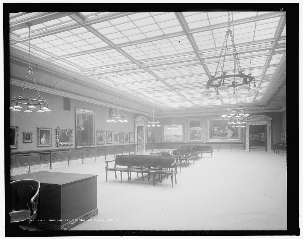 16 x 20 Gallery Wrapped Frame Art Canvas Print of  The Picture gallery the New York Public Library  1910 Detriot Publishing co.  40a