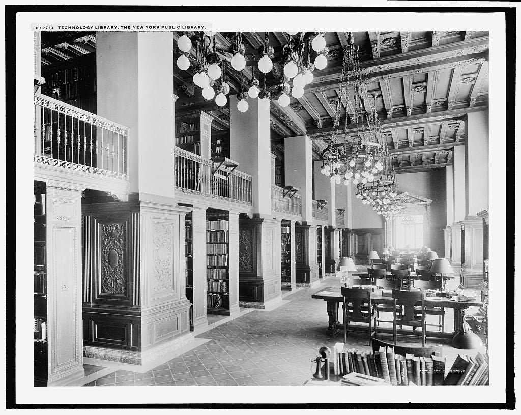 16 x 20 Gallery Wrapped Frame Art Canvas Print of Technology library the New York Public Library 1915 Detriot Publishing co.  44a