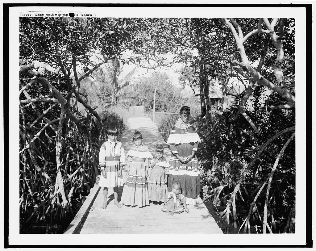 16 x 20 Gallery Wrapped Frame Art Canvas Print of A Seminole mother and children 1915 Detriot Publishing co.  79a