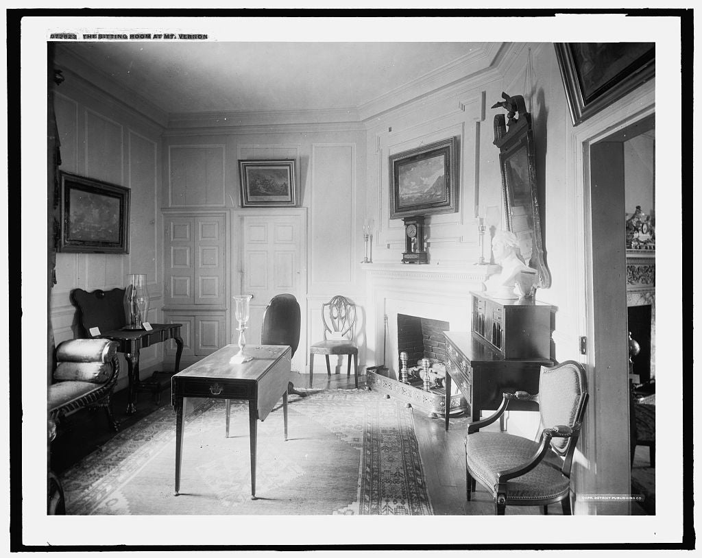 16 x 20 Gallery Wrapped Frame Art Canvas Print of The Sitting room at Mt Vernon 1915 Detriot Publishing co.  91a