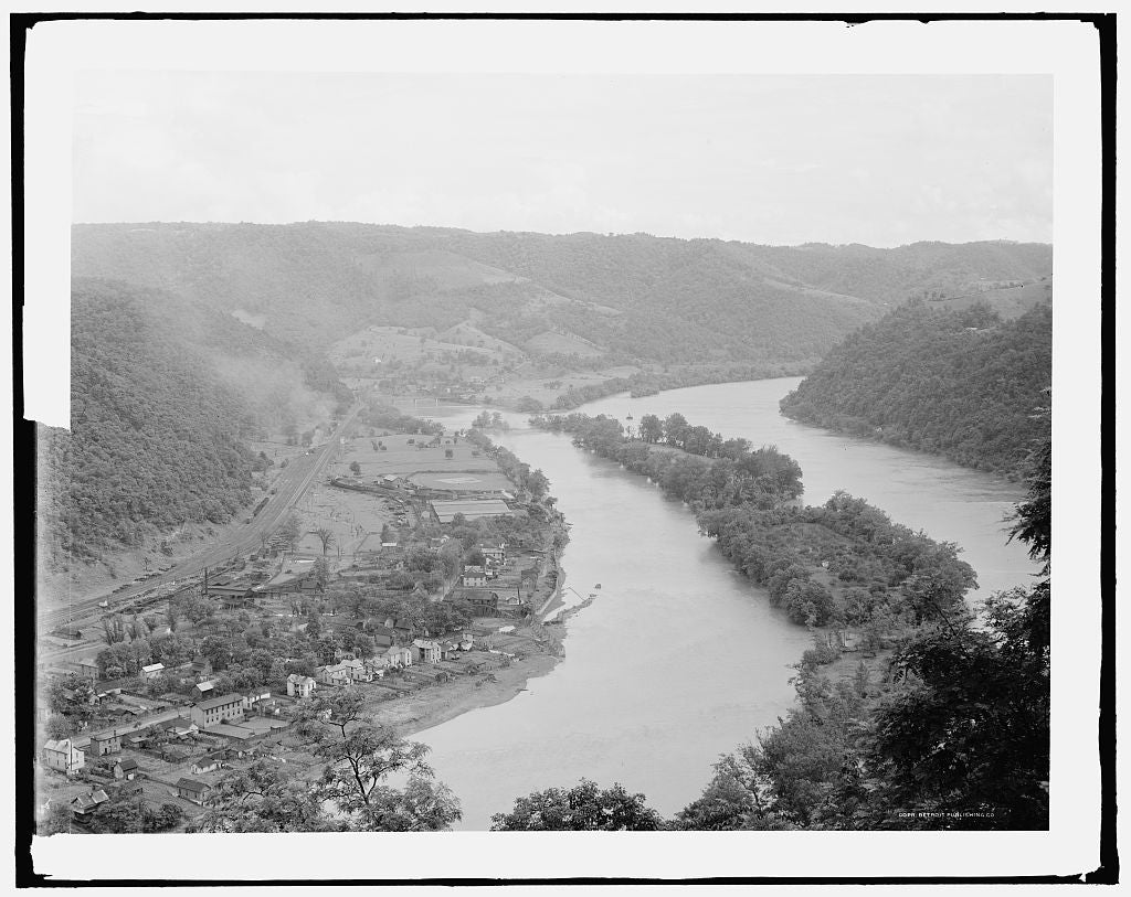 16 x 20 Gallery Wrapped Frame Art Canvas Print of Junction of New and Greenbrier rivers Hinton W Va  1915 Detriot Publishing co.  82a