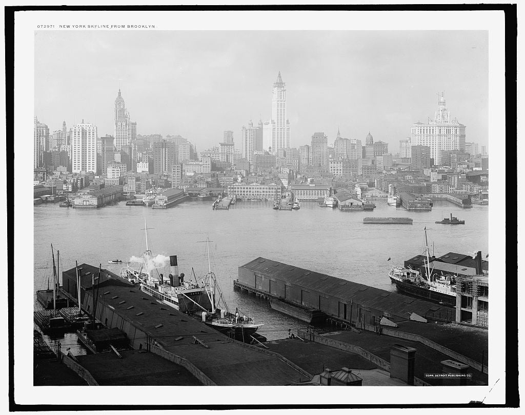 16 x 20 Gallery Wrapped Frame Art Canvas Print of New York skyline from Brooklyn 1910 Detriot Publishing co.  36a