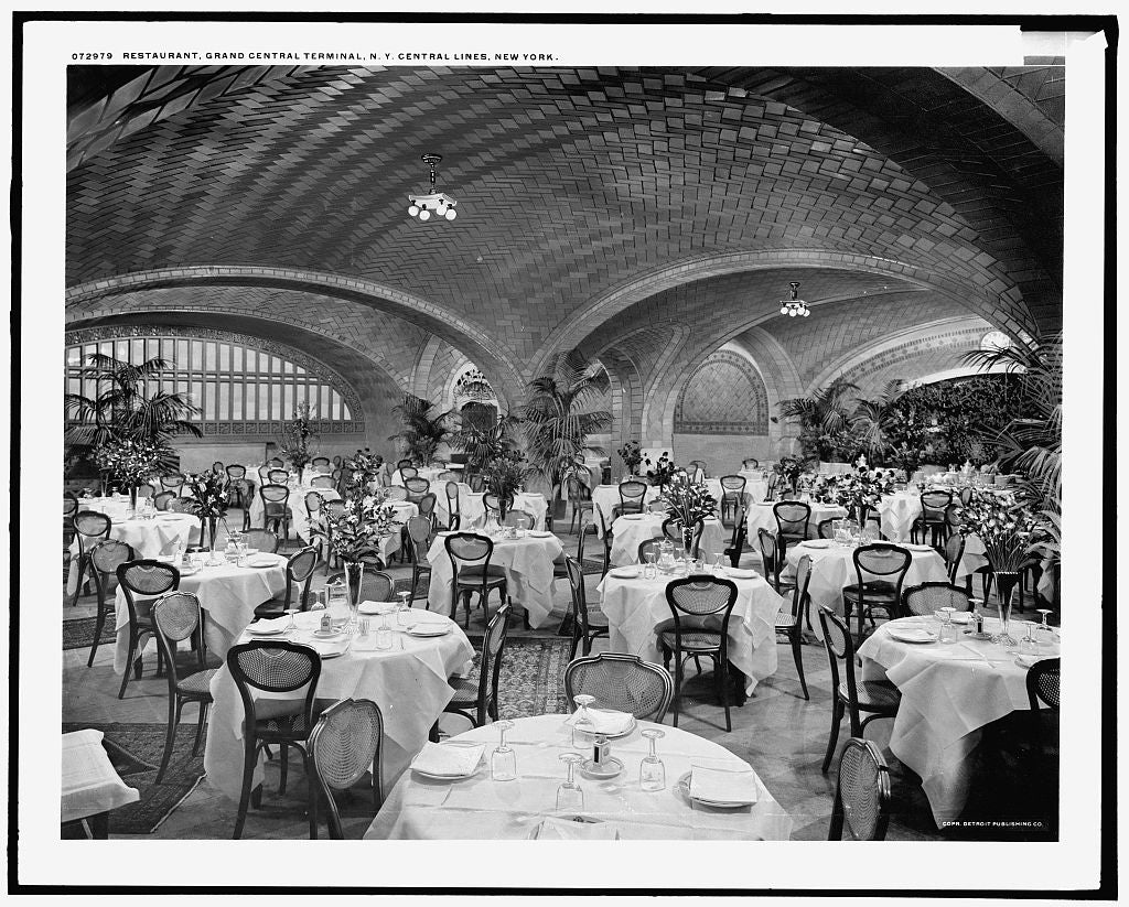 16 x 20 Gallery Wrapped Frame Art Canvas Print of Restaurant Grand Central Terminal N Y Central Lines New York 1915 Detriot Publishing co.  74a