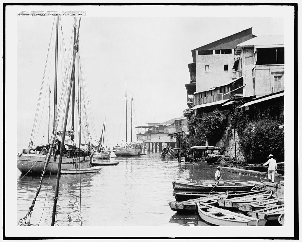 16 x 20 Gallery Wrapped Frame Art Canvas Print of Seawall Panama at high tide 1915 Detriot Publishing co.  20a