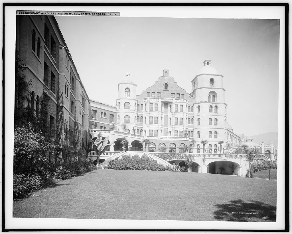 16 x 20 Gallery Wrapped Frame Art Canvas Print of East wing Arlington Hotel Santa Barbara Calif  1915 Detriot Publishing co.  38a